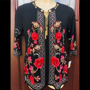 Macys NWT Tunic Blouse Black Red Flral Gold Tassle